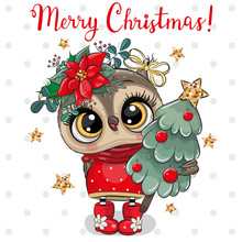 Cute Cartoon Owl With Christmas Tree On A White Background