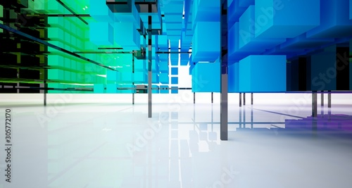 Photo Abstract white and colored gradient  interior from array cubes with large window
