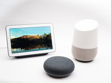 Smart Home Devices And Speakers On White Background