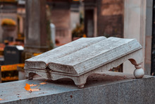 Old Stone Open Book Monument I...