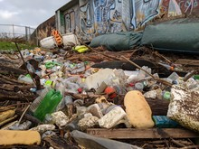 Plastic Rubbish Waste Washed Ashore After Flood Disaster In Yorkshire