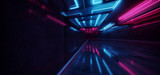 Fototapeta Perspektywa 3d - Laser Show Club Dark Neon Sci Fi Futuristic Retro Purple Blue Glowing Ceiling Lights Concrete Grunge Garage Stage Tunnel Room Hall 3D Rendering