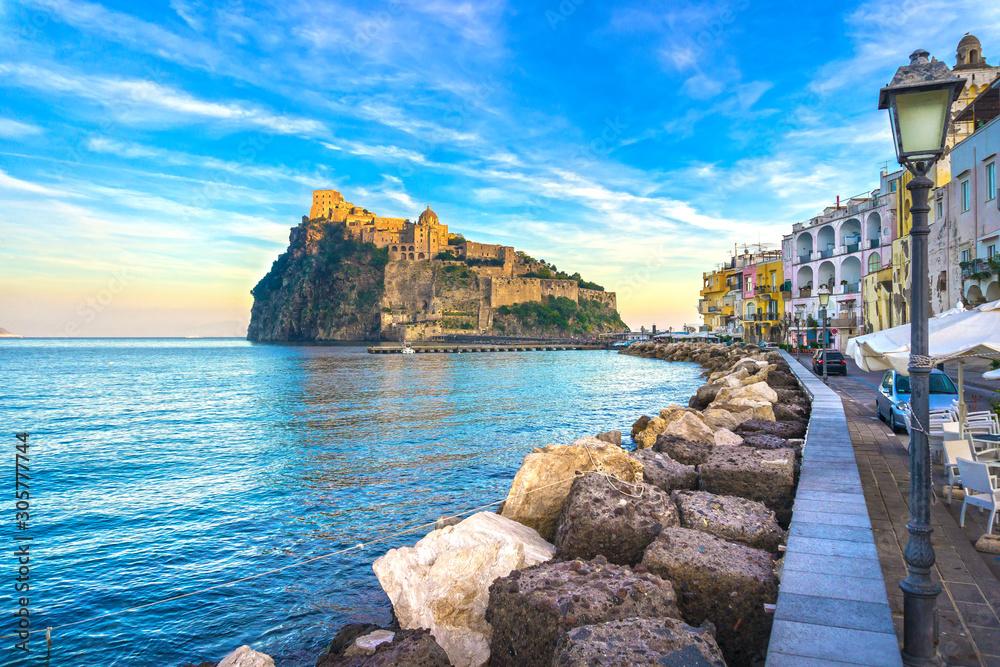 Fototapeta Ischia island and Aragonese medieval castle. Campania, Italy.