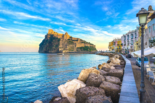 Fotomural Ischia island and Aragonese medieval castle. Campania, Italy.