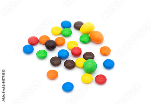 Colorful Candies isolated on white Background, chocolate coated Candies Wallpaper Mural