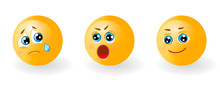 Set Of Yellow Cute Happy Smiling, Sad Crying And Suprised Or Angry Emoticons. Faces Emotions. Facial Expression, Mood. 3d Realistic Emoji. Funny Cartoon Character.Web Icon. Vector Eps10 Illustration