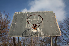 Old Weathered Outdoor Basketball Basket