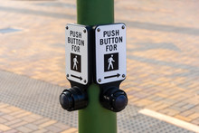 Push Button For Walking - Sign On Street Pole
