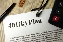 401k Plan With Calculator Pen ...