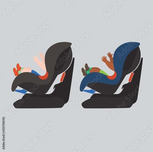 Fotografía child in a car seat