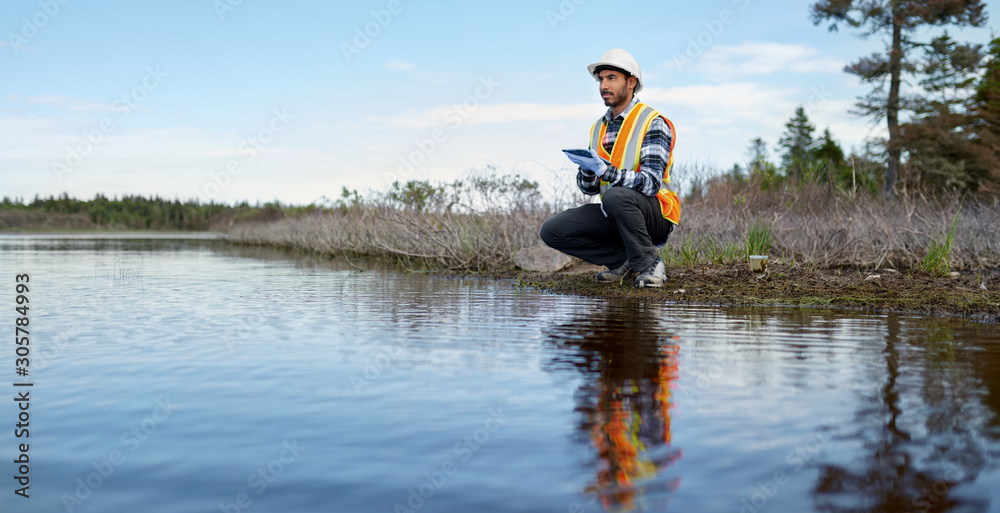 Fototapeta Marine biologist analysing water test results on a tablet in Can