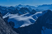 Mountain Peaks At Dusk, Switzerland