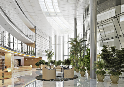 Large open concept contemporary atrium style resort lobby interior Wallpaper Mural