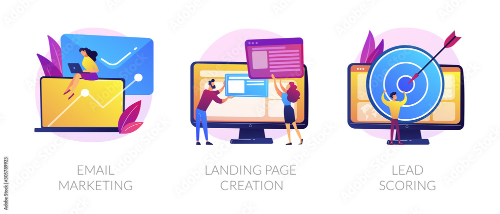Fototapeta Web design and targeted advertisement flat icons set. Newsletter digital promotion. Email marketing, landing page creation, lead scoring metaphors. Vector isolated concept metaphor illustrations