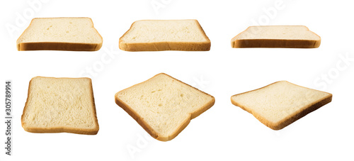 Cuadros en Lienzo Set of bread slices isolated on white background