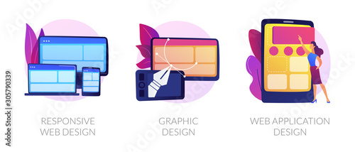 Fototapeta Adaptive programming icons set. Multi device development, software engineering. Responsive web design, graphic design, web application design metaphors. Vector isolated concept metaphor illustrations obraz