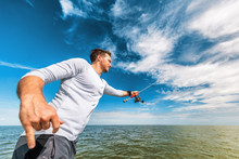 Fishing Man In Florida Boat Excursion Tour Throwing Line With Road Fisherman In Everglases. Sports Lifestyle.