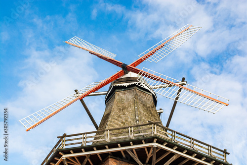 Jork, Germany - November 09, 2019. Old windmill rebuilt to restaurant Die Muehle Jork