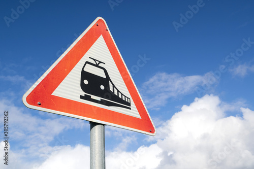 German road sign: level crossing ahead Canvas-taulu