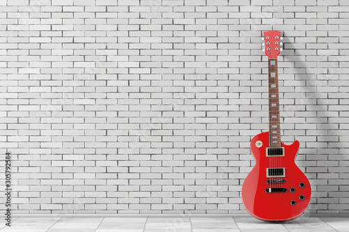 Beautiful Red Electric Guitar in Retro Style. 3d Rendering - 305792584