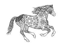 Horse Pattern Design. Mandala ...