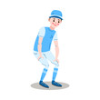 The teenage boy baseball player standing in a pose. Vector illustration in the flat cartoon style.