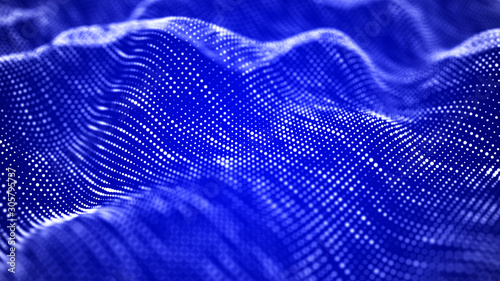 Foto auf Leinwand Violett Wave of particles. Futuristic blue dots background with a dynamic wave. Big data. 3d rendering.