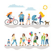 Flat illustrations set with collection simple character peoples walking on street: man, woman, child, girl on bike, dog and more isolated person.