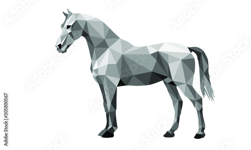 Fotografie, Obraz horse, isolated  image on white background in low poly style