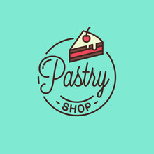 Pastry Shop Logo. Round Linear Of Cake Dessert
