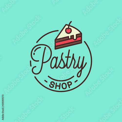 Stampa su Tela Pastry shop logo. Round linear of cake dessert