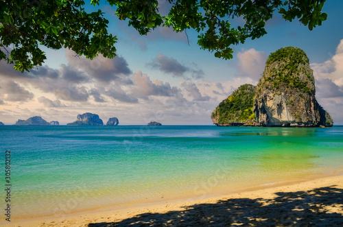 Beautiful islands and beach landscape at Phra nang bay, Thailand Canvas Print