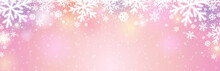 Pink Christmas Banner With Whi...