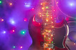 canvas print picture - electric guitar with festive Christmas lights and music speakers in smoke