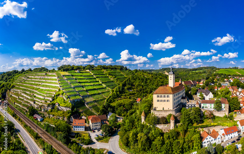 Photo  Aerial view, Horneck Castle, Castle of the Teutonic Knights, Gundelsheim, Odenwa