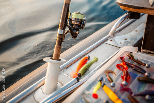 Foto auf AluDibond Schiff spinning with bait on a fishing boat