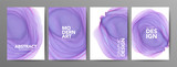 Purple alcohol ink poster templates collection. Violet modern ink vector texture with text and typography.