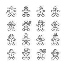 Gingerbread Man Vector Illustration Icon Set