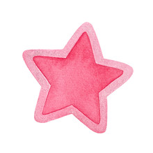 Decorative Bright Pink Water Color Star Shape With Border Decorated With Tiny Silver Glitter. Handdrawn Watercolour Graphic Drawing On White, Cut Out Clipart Element For Creative Design Decoration.