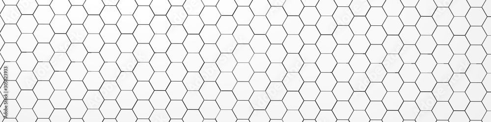 3d rendering of white geometric hexagonal abstract background. Pattern for texture of wallpapers.