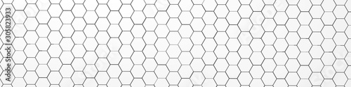 3d rendering of white geometric hexagonal abstract background. Pattern for texture of wallpapers.  - 305823933