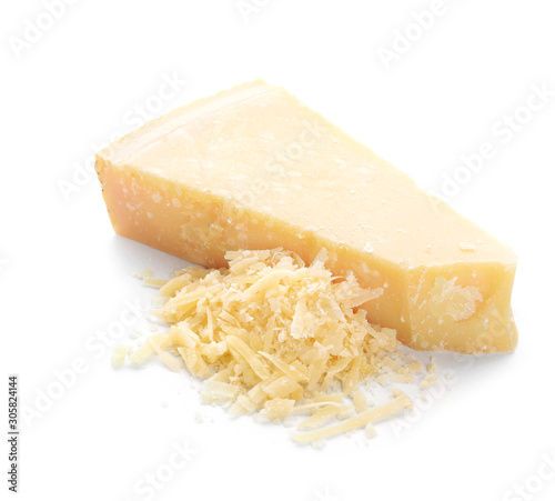 Fototapeta Tasty Parmesan cheese on white background obraz