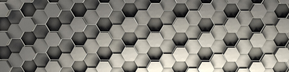 3d rendering of silver geometric hexagonal abstract background. Pattern for t...