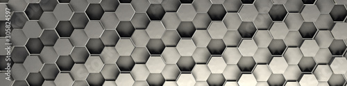3d rendering of silver geometric hexagonal abstract background. Pattern for texture of wallpapers. 3d background light honeycomb of different height.  - 305824597