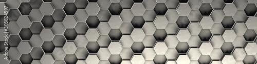 3d rendering srebny geometryczny heksagonalny abstrakcjonistyczny tło. Wzór na teksturę tapet. 3d tła światła plaster miodu o różnej wysokości.