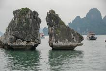 Kissing Chicken Rocks In Ha Long Bay, Vietnam