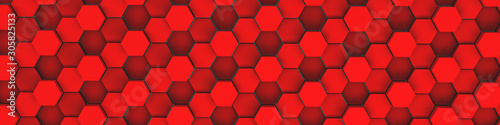 3d rendering of red geometric hexagonal abstract background. Pattern for texture of wallpapers. 3d background light honeycomb of different height.  - 305825133