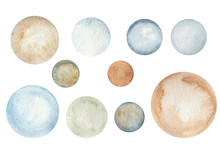 Watercolor Round Blue, Brown, ...