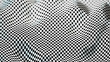 Black And White Deformed Checker Board With Depth Of Field Effect - 3D Illustration