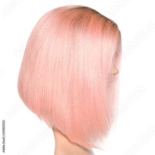 short straight black to pink two tone ombre style human hair lace weaves bob wig Fotobehang